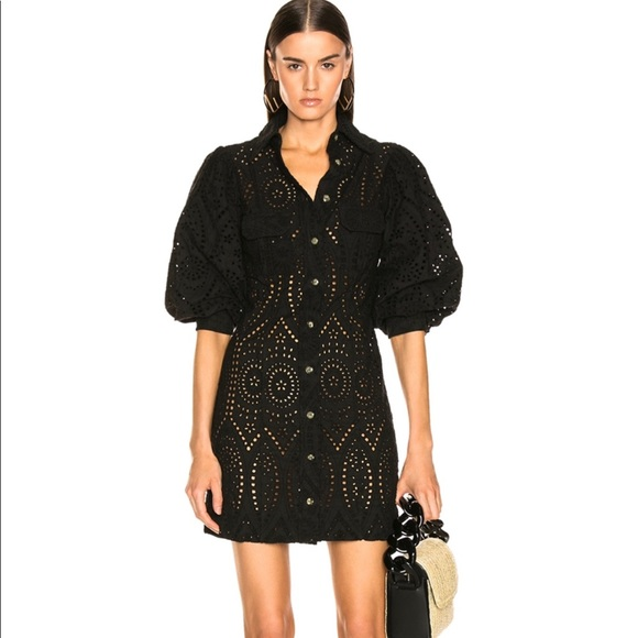 best loved wide varieties new authentic Ganni broderie anglaise dress in black NWT